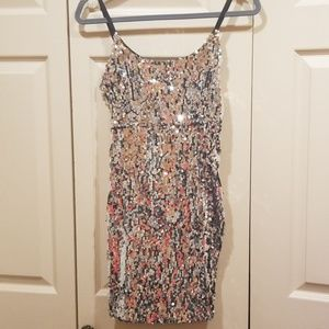 REVAMPED Silver Sequined Mini Dress New Year's